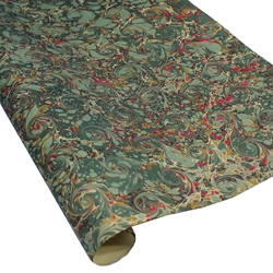 Italian Marbled Paper - CURLED STONE - Green/Red