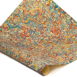 Italian Marbled Paper - CURLED STONE - Red/Blue/Yellow
