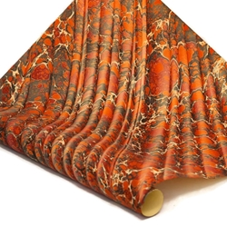 Italian Marbled Paper - STONE WAVE - Red/Black