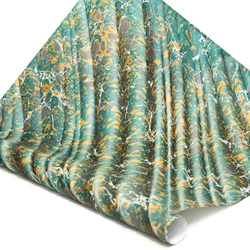 Italian Marbled Paper - STONE WAVE - Green/Yellow