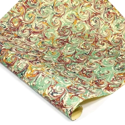 Italian Marbled Paper - CURLED STONE - Green, Blue, Burgundy and Yellow