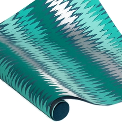 Metallic Screenprinted Indian Cotton Rag Paper - ZIG ZAG - TEAL/SILVER