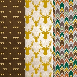 Americana Decou-Page Paper Design Pack - GOLD STAG