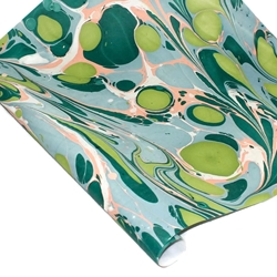 Marbled Indian Cotton Rag Paper - GREEN AND BLUE MULTI COLOR