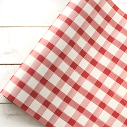 Paper Table Runner Roll - RED PAINTED CHECK - 20 Inches x 25 Feet