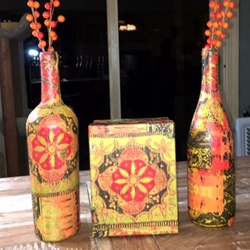 DECOPAUGE WINE BOTTLES AND BOXES