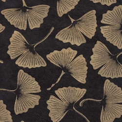 Lokta Paper Origami Pack - Ginkgo Leaves - GOLD ON BLACK
