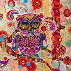 Mixed-Media Paper Owl by Alma Anderson