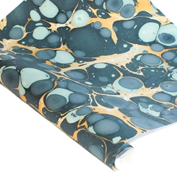 Marbled Indian Cotton Rag Paper - BUBBLE - BLUE/YELLOW