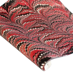 Marbled Indian Cotton Rag Paper - COMBED - RED/BLACK