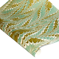 Marbled Indian Cotton Rag Paper - COMBED - OLIVE/BLUE