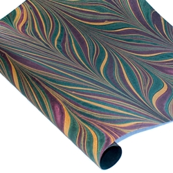Marbled Indian Cotton Rag Paper - BIRD WING - PURPLE/GREEN/GOLD