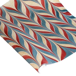 Marbled Indian Cotton Rag Paper - BIRD WING - RED/BLUE/CREAM