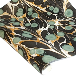 Marbled Indian Cotton Rag Paper - BUBBLE - TEAL/BLACK/GOLD