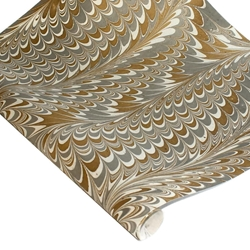 Marbled Indian Cotton Rag Paper - COMBED - SILVER/GOLD