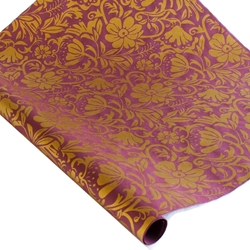 Screenprinted Mulberry Paper - Moon Flowers - GOLD/PLUM