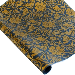 Screenprinted Mulberry Paper - Moon Flowers - GOLD/MIDNIGHT BLUE
