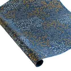 Screenprinted Mulberry Paper - Willow Leaf - SILVER/GOLD/MIDNIGHT BLUE