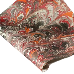 Marbled Indian Cotton Rag Paper - PEACOCK - ORANGE/RED/BLACK