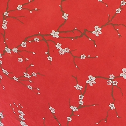 Lokta Paper Origami Pack - Peach Blossom - WHITE ON RED