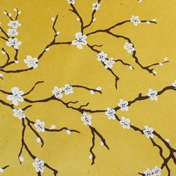 Lokta Paper Origami Pack - Peach Blossom - WHITE ON YELLOW