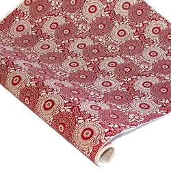 Silkscreened Nepalese Lokta Paper - Dahlia - RED ON CREAM