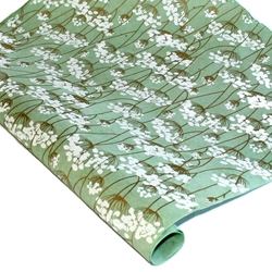 Silkscreened Nepalese Lokta Paper - Flowering Twigs - WHITE ON MINT
