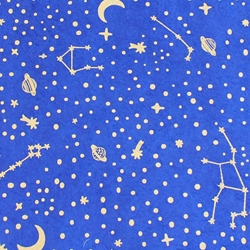 Lokta Paper Origami Pack - Silkscreened Nepalese Lokta Paper - Constellations - GOLD ON SAPPHIRE