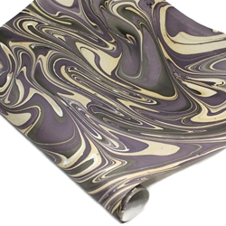 Marbled Indian Cotton Rag Paper - PURPLE/CREAM/BLACK