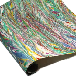 Marbled Lokta Paper -Zig Zag Wave - MULTICOLOR