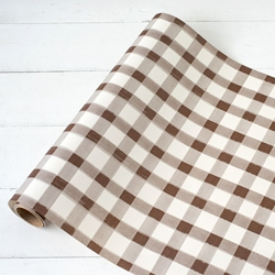 Paper Table Runner Roll - BROWN PAINTED CHECK - 20 Inches x 25 Feet