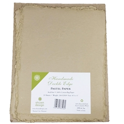 Handmade Deckle Edge Indian Cotton Paper Pack - TAN