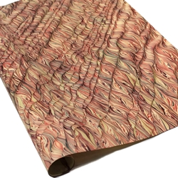 Italian Marbled Paper - STRIPED MOIRE - Red/Black
