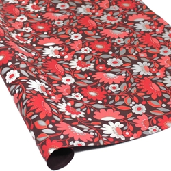 Metallic Screenprinted Indian Cotton Rag Paper - FLORAL - RED/BROWN
