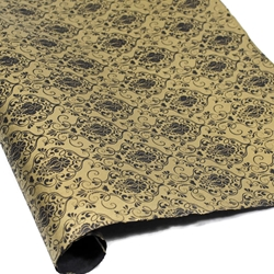 Silkscreened Nepalese Lokta Paper - Victorian - GOLD ON BLACK