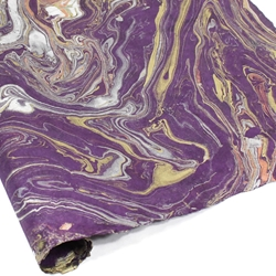 Marbled Lokta Paper - GOLD/SILVER/COPPER ON PURPLE