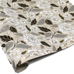 Metallic Screenprinted Indian Cotton Rag Paper - ROSE - Black/Gray