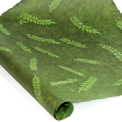 Nepalese Lokta Paper - Sun Washed Fern - FOREST GREEN AND PALM