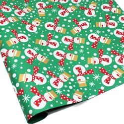 Metallic Screenprinted Indian Cotton Rag Paper - FESTIVE SNOWMEN