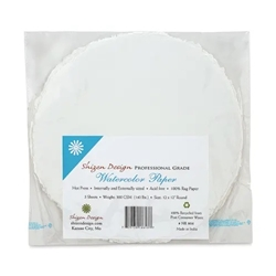 "Handmade Deckle Edge Indian Cotton Watercolor Paper Pack - SMOOTH - ROUND 12"" x 12"""