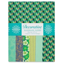 Handmade Indian Cotton Paper Pack - SCREENPRINTED - TURQUOISE AND TEAL