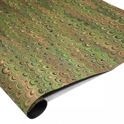 Brazilian Marbled Paper - PEACOCK - Green